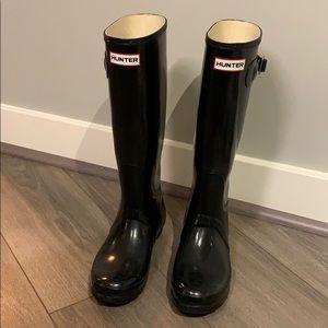 Hunter Wellies- Glossy Black US Size 7